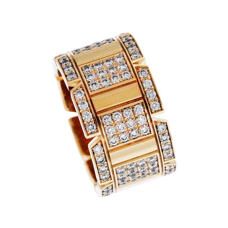 Cartier Tank Francaise Yellow Gold and Diamond Band Ring For Sale
