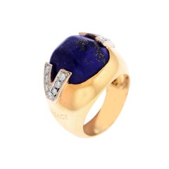 Versace Yellow Gold and Diamond Ring with Lapis Lazuli Center