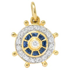 Modern 1980s 0.30 Carat Diamond Sapphire 18 Karat Gold Ship's Wheel Charm