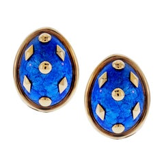 Tiffany & Co. Schlumberger Blue Enamel Yellow Gold Earrings