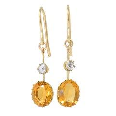 Victorian 2.45 Carat Citrine Diamond 14 Karat Gold Drop Earrings