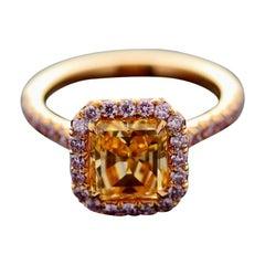 GIA 2.01 Carat Emerald Natural Fancy Intense Orange Yellow Diamond SI1 Gold Ring