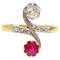 "Belle Époque French Ruby Diamond ""Toi et Moi"" 18 Karat Gold Platinum Ring"