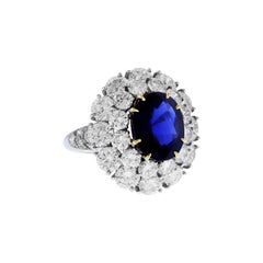 Burma Sapphire and Diamond Platinum Ring GIA Certified