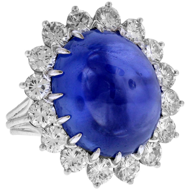 Cabochon Sapphire and Diamond Platinum Cocktail Ring For Sale