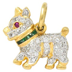 1980s 0.55 Carat Diamond Emerald Ruby 18 Karat Gold Scottie Terrier Charm