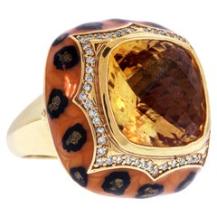 Yellow Gold and Diamond Ring with Citrine Center and Enamel Haggai