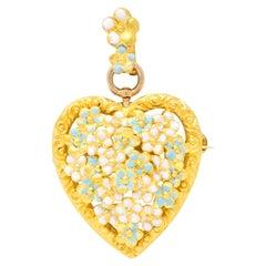 Krementz Art Nouveau Enamel 14 Karat Gold Heart Enamel Flower Pendant Brooch