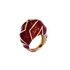 Red Enamel Yellow Gold Cocktail Ring