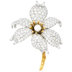 Schlumberger Tiffany & Co. Diamond Platinum 18 Karat Gold Flower Pin