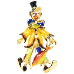 Spitzer & Furman Retro Diamond Enamel 18 Karat Gold Clown Brooch