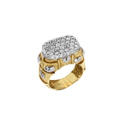Yellow Gold and Diamond Ring with Hearts Stambolian