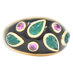 Cartier 1991 Emerald Pink Tourmaline Lacquer 18 Karat Gold Ring