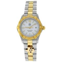 Ladies Tag Heuer Aquaracer WAF1424 Gold Steel MOP Date 300M Quartz 28MM Watch