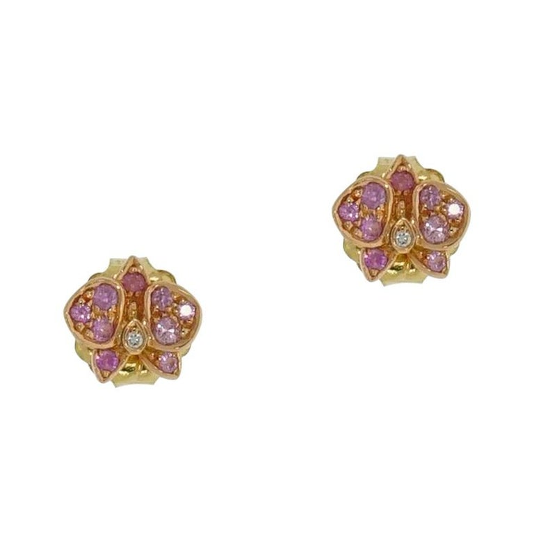 Rose Gold Caresse D'Orchidees Cartier Earrings For Sale