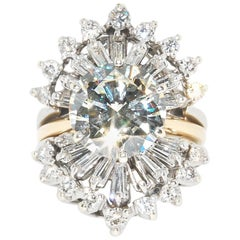 GIA Report 4.40 Carat Solitaire Center with Diamond Enhancer, Two-Tone