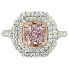 GIA Certified 1.00 Carat Radiant Cut Natural Fancy Purple Pink SI1 Platinum Ring