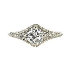 0.81 Carat GIA Certified Old European Cut Diamond Filigree Ring