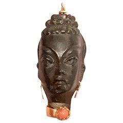 Vintage Italian Ebony Head 18 Karat with Coral Pendant