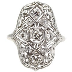 Art Deco Old European Cut Diamond Platinum Ring