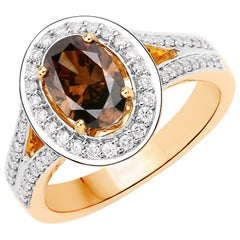 1.16 Carat Chocolate Diamond and 0.36 Carat Diamond 18k Yellow Gold Bridal Ring