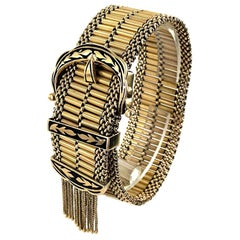 Vintage Enamel 14 Karat Yellow Gold Buckle Slide Tassel Bracelet
