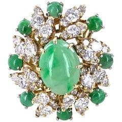 1960s Jade Diamond Cocktail Ring 18 Karat Yellow Gold