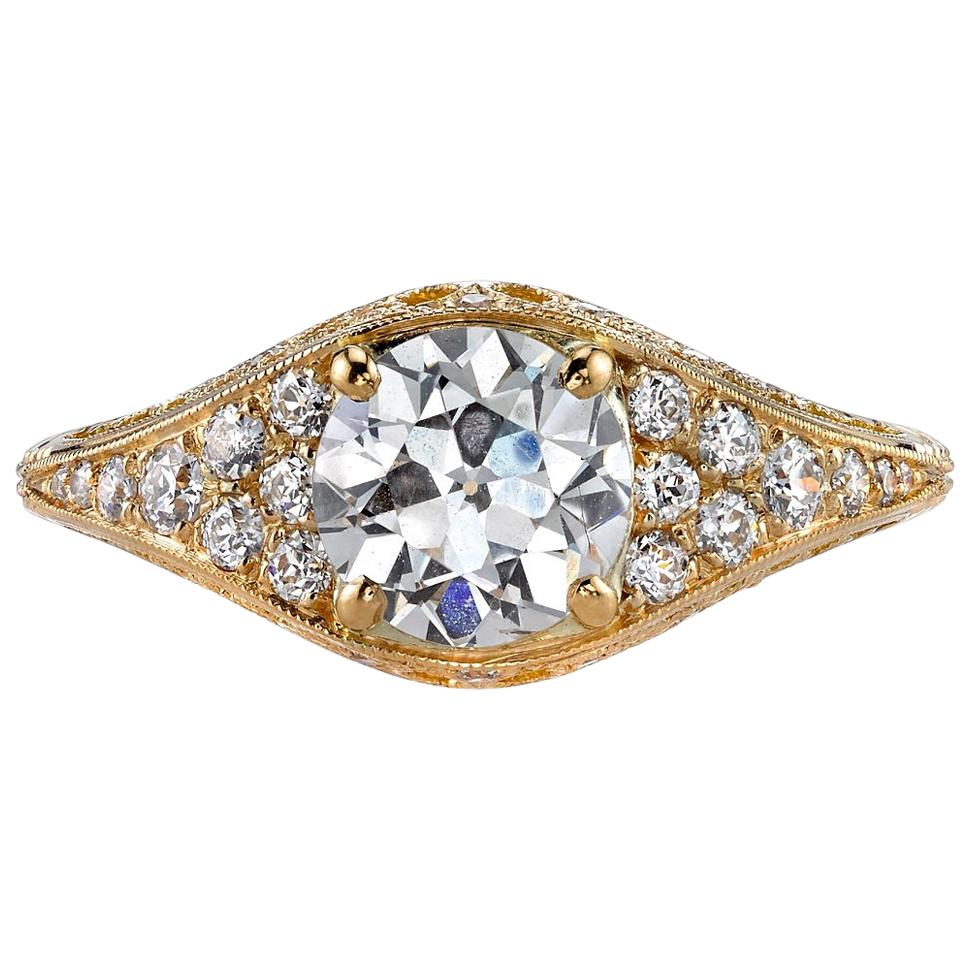 1.06ctw Old European Cut Diamond Set in a Handcrafted 18 Karat Yellow Gold Ring