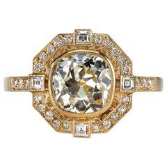 1.71 Carat EGL Certified Cushion Cut Diamond Ring