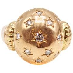 Retro 18 Karat Rose Gold Diamond Ring