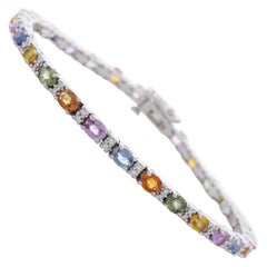 6.42 Carat Total Oval Multi-Color Sapphire and Diamond Bracelet in 14 Karat Gold