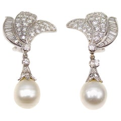 Diamond Pearl Platinum Dangling Night and Day Earrings