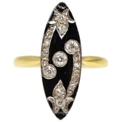 Belle Époque Black Enamel Old European Cut Diamond Navette Ring