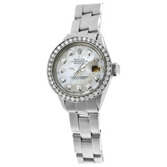 Ladies Rolex Oyster Perpetual Date 6516 Stainless Steel Diamond MOP 26MM Watch