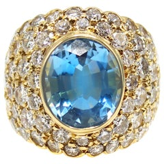 Oval Brilliant Aquamarine Diamond 18 Karat Yellow Gold 1980s Cocktail Ring