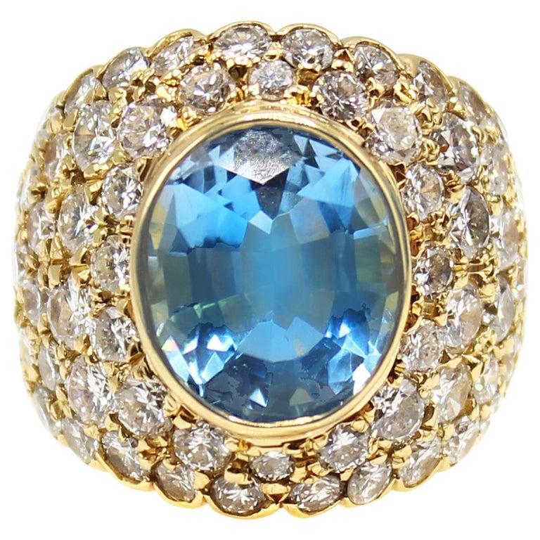 Oval Brilliant Aquamarine Diamond 18 Karat Yellow Gold 1980s Cocktail Ring