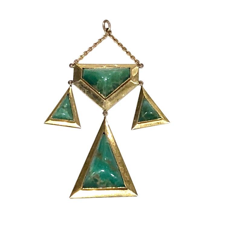 Art Nouveau 18 Karat Jade Pendant, circa 1940s For Sale
