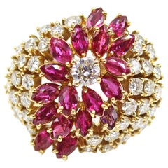 Ruby Diamond 18 Karat Yellow Gold 1970s Bombe Ring