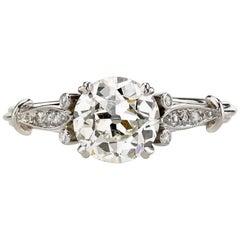1.27 Carat EGL Certified Old European Cut Diamond Solitaire Engagement Ring