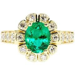1.59 Carat Emerald and Diamond Ring 18 Karat Yellow Gold