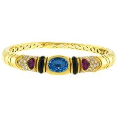 Marina B Yellow Gold Choker Necklace with Blue Topaz Tourmaline Diamond 1980s