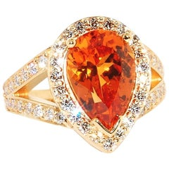 Spessartite Garnet in 20 Karat Yellow Gold with Ideal Cut Diamonds, One of One