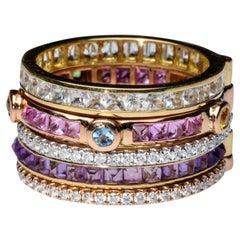 Rosa Van Parys Marley in Sapphires, Amethysts & Diamonds 18 Karat Gold Ring