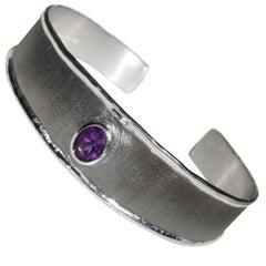 Yianni Creations 1.25 Carat Amethyst Fine Silver and Black Rhodium Bracelet