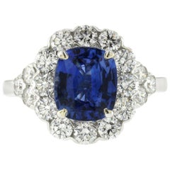 White 3 Ct Ceylon Sapphires & 1.48 Ct Diamonds In 18k Gold Engagement Ring