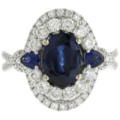 2.57 CT Ceylon Sapphires & 1.09 CT Diamonds in 18K White Gold Engagement Ring