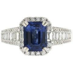 2.78 CT Ceylon Sapphires & 1.34 CT Diamonds in 18K White Gold Engagement Ring