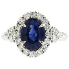 2.14 Carat Ceylon Sapphires and 0.89 Carat Diamonds in 18 Karat White Gold Ring