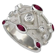 Georgios Collections 18 Karat White Gold Diamond and Ruby Granulation Band Ring