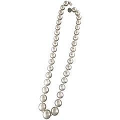 Australian Pearls, 18 Karat White Gold Clasp, Diamonds, Strand Rope Necklace
